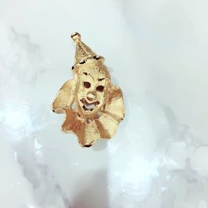 Gold Tone Clown Brooch Pin
